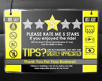 Uber LYFT Driver Car Seat Headrest Rating & Tip Signs (Pair of 2) V2 - Yellow