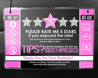 Uber LYFT Driver Car Seat Headrest Rating & Tip Signs (Pair of 2) V2 - PINK