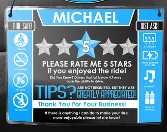 Uber / Lyft CUSTOMIZED Headrest Sign Set w/Name - Get More 5 Star Ratings & Tips - With Color Options! (V.2)