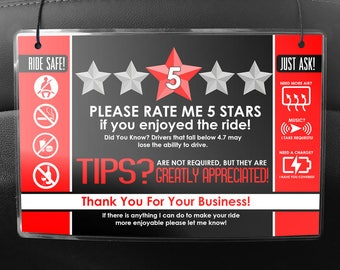 Uber LYFT Driver Car Seat Headrest Rating & Tip Signs (Pair of 2) V2 - RED