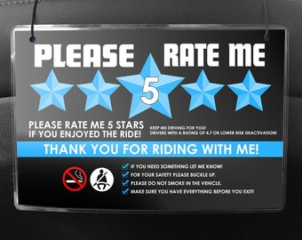Uber or Lyft Headrest Seat Back Signs - (Pair of 2) - 5 Star Ratings & Ride-share Rules (V5)- Multiple Colors Available