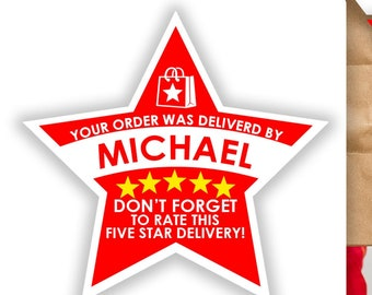 "Doordash PERSONALIZED Star 2.37"" [5 STAR DELIVERY] Delivery Bag Stickers - 12 Stickers Per Sheet- Food Delivery"