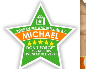 "Instacart PERSONALIZED Star 2.37"" [5 STAR DELIVERY] Delivery Bag Stickers - 12 Stickers Per Sheet- Food Delivery"
