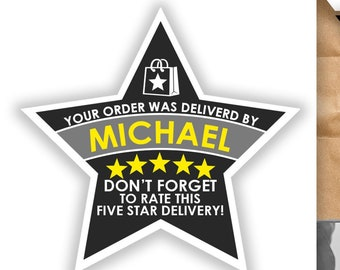 "Postmates PERSONALIZED Star 2.37"" [5 STAR DELIVERY] Delivery Bag Stickers - 12 Stickers Per Sheet- Food Delivery"