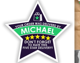 "Shipt PERSONALIZED Star 2.37"" [5 STAR DELIVERY] Delivery Bag Stickers - 12 Stickers Per Sheet- Food Delivery"