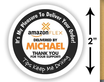 "Personalized! Amazon FLEX 2""x2"" (Tips Keep Me Driving) Delivery Stickers - 20 Stickers Per Sheet"