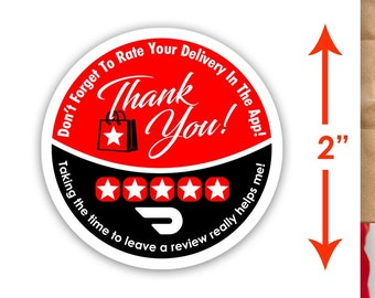 """Doordash 2""""x2"""" - Thank You - Delivery Bag Stickers - 20 Stickers Per Sheet- Food Delivery"""