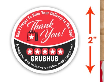 """Grubhub 2""""x2"""" - Thank You - Delivery Bag Stickers - 20 Stickers Per Sheet- Food Delivery"""