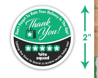 """Bite Squad 2""""x2"""" - Thank You - Delivery Bag Stickers - 20 Stickers Per Sheet- Food Delivery"""