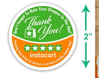 """Instacart 2""""x2"""" - Thank You - Delivery Bag Stickers - 20 Stickers Per Sheet- Food Delivery"""