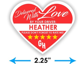 """PERSONALIZED - Grubhub Heart 2.25"""" [Delivered With Love] Delivery Bag Stickers - 15 Stickers Per Sheet- Food Delivery"""