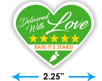 """Instacart Heart 2.25"""" [Delivered With Love] Delivery Bag Stickers - 15 Stickers Per Sheet- Food Delivery"""