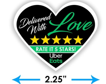 """Uber Eats 2.25"""" [Delivered With Love] Delivery Bag Stickers - 15 Stickers Per Sheet- Food Delivery"""