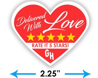 """Grubhub Heart 2.25"""" [Delivered With Love] Delivery Bag Stickers - 15 Stickers Per Sheet- Food Delivery"""