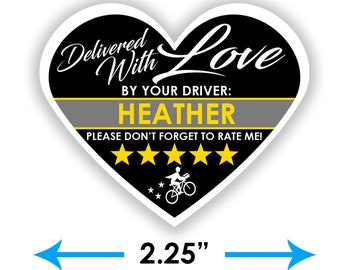 """PERSONALIZED - Postmates Heart 2.25"""" [Delivered With Love] Delivery Bag Stickers - 15 Stickers Per Sheet- Food Delivery"""