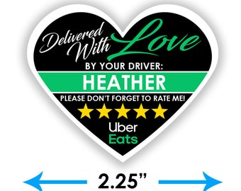 """PERSONALIZED - Uber Eats Heart 2.25"""" [Delivered With Love] Delivery Bag Stickers - 15 Stickers Per Sheet- Food Delivery"""