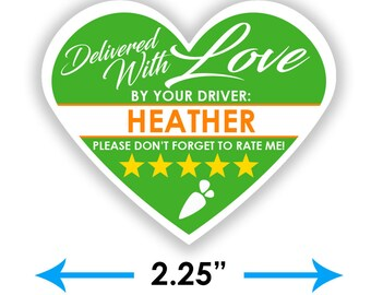 """PERSONALIZED - Instacart Heart 2.25"""" [Delivered With Love] Delivery Bag Stickers - 15 Stickers Per Sheet- Food Delivery"""