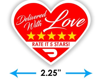 """Doordash Heart 2.25"""" [Delivered With Love] Delivery Bag Stickers - 15 Stickers Per Sheet- Food Delivery"""