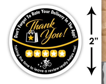 """Postmates 2""""x2"""" - Thank You - Delivery Bag Stickers - 20 Stickers Per Sheet- Food Delivery"""