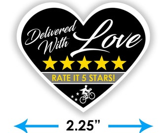 """Postmates Heart 2.25"""" [Delivered With Love] Delivery Bag Stickers - 15 Stickers Per Sheet- Food Delivery"""