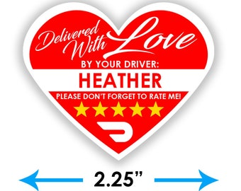 """PERSONALIZED - Doordash Heart 2.25"""" [Delivered With Love] Delivery Bag Stickers - 15 Stickers Per Sheet- Food Delivery"""