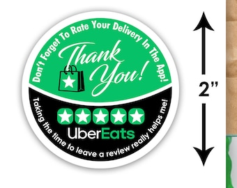"""Uber Eats 2""""x2"""" - Thank You - Delivery Bag Stickers - 20 Stickers Per Sheet- Food Delivery"""