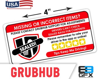 "Grubhub 4""x2"" [Missing Items - Ratings & Tips ] Delivery Driver Bag Stickers - 10 Stickers Per Sheet- Food Delivery"