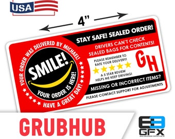 "Personalized! Grubhub 4""x2"" 5 Star Rating Delivery & Missing Items Bag Stickers - 10 Stickers Per Sheet- Food Delivery"
