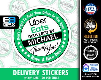 """Personalized! Uber Eats 2"""" [ Have A Nice Day ] Delivery Driver Bag Stickers - 20 Stickers Per Sheet- Food Delivery"""