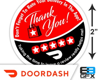 "Doordash 2""x2"" - Thank You - Delivery Bag Stickers - 20 Stickers Per Sheet- Food Delivery"