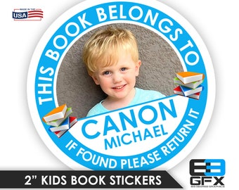 "Personalized! Kids Book Stickers [ This Book Belongs to ] School/Nursery/Book Labels 2"" Glossy With Photo"