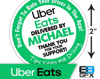 "Personalized! Uber Eats 2""x2"" ""Tips Keep Me Driving"" Delivery Bag Stickers - 20 Stickers Per Sheet- Food Delivery"