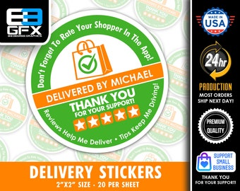 """Personalized! 2"""" [ FIVE STAR ]  Delivery Driver Bag Stickers - 20 Stickers Per Sheet- Food Delivery"""