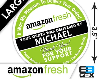 "LARGE Personalized! FRESH 3.5"" [Review Your Order] Delivery Bag Stickers - 6 Stickers Per Sheet- Food Delivery"