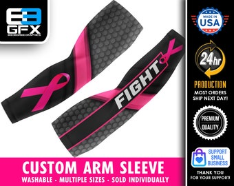 """Breast Cancer Awareness """"FIGHT"""" Support  - Custom Arm Sleeve (Multiple sizes available)"""