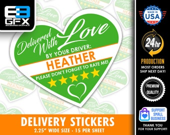 """PERSONALIZED - Heart 2.25"""" [Delivered With Love] Delivery Bag Stickers - 15 Stickers Per Sheet- Food Delivery"""