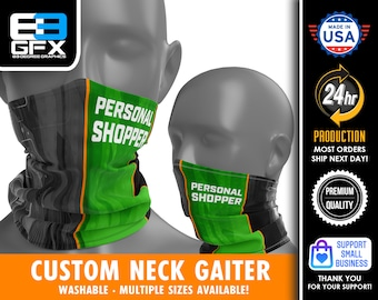 """Delivery Driver """"Personal Shopper"""" - GREEN & ORANGE - Neck Gaiter - Face Cover - Multiple Sizes!"""