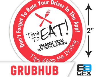 """Grubhub 2""""x2"""" """"Tips Keep Me Driving"""" Delivery Bag Stickers - 20 Stickers Per Sheet- Food Delivery"""