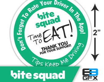 "BiteSquad 2""x2"" ""Tips Keep Me Driving"" Delivery Bag Stickers - 20 Stickers Per Sheet- Food Delivery"