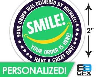 "2"" [ SMILE Your Order Is Here! ] Delivery Driver Bag Stickers - 20 Stickers Per Sheet- Food Delivery"