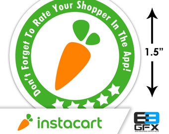 "MINI! Instacart 1.5"" [ 5 Stars ] Delivery Driver Bag Stickers - 30 Stickers Per Sheet- Food Delivery"