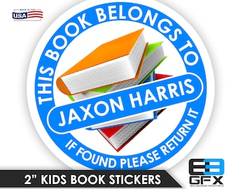 "Personalized! Kids Book Stickers [ This Book Belongs to ] School/Nursery/Book Labels 2"" Glossy With Name"