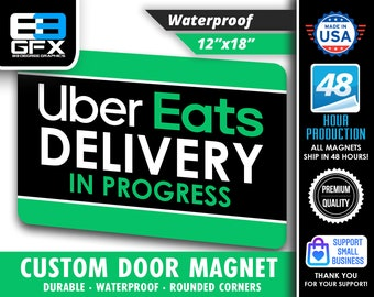 """PAIR of Uber Eats Delivery 12""""x18"""" Large Car Magnets (2 QTY)"""