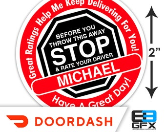 "Personalized! Doordash [ STOP & Rate Your Driver ] 2"" Delivery Bag Stickers - 20 Stickers Per Sheet- Food Delivery"
