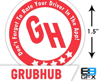 """MINI! Grubhub 1.5"""" [ 5 Stars ] Delivery Driver Bag Stickers - 30 Stickers Per Sheet- Food Delivery"""
