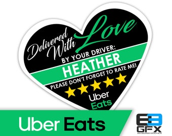 "PERSONALIZED - Uber Eats Heart 2.25"" [Delivered With Love] Delivery Bag Stickers - 15 Stickers Per Sheet- Food Delivery"