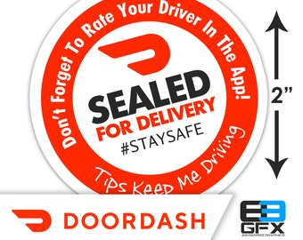 """Doordash 2""""x2"""" (Sealed For Delivery) Box/Bag Stickers - 20 Stickers Per Sheet- Food Delivery"""