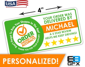 "Personalized! 4""x2"" [Order Checked] 5 Star Rating Delivery Shopper Bag Stickers - 10 Stickers Per Sheet- Food Delivery"
