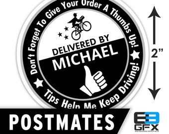 "Personalized! Postmates [ Thumbs Up ] 2""x2"" [ Tips Keep Me Driving ] Delivery Bag Stickers - 20 Stickers Per Sheet- Food Delivery"