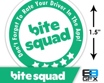 "MINI! Bite Squad 1.5"" [ 5 Stars ] Delivery Driver Bag Stickers - 30 Stickers Per Sheet- Food Delivery"